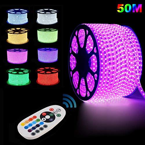 GreenSun LED Lighting Flexible Led Streifen LED Strips 50m RGB LED Lichterkette Lichterschlauch Fensterbeleuchtung für Weihnachten Hochzeit Dekoration mit 24 Tasten RF Controller