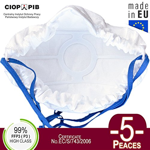 5x Atemschutzmaske FFP3 - (99,9%) | Atemmaske staubmaskem staubfecht Respirator Disposable Breathing Dust Mask Staubmasken Feinstaubmaske Staubmaske filter
