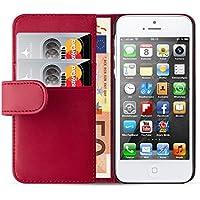 iPhone SE, iPhone 5 / 5s Lederhülle | JAMMYLIZARD Ledertasche [ Wallet Series ] Leder Hülle Flip Case Cover Schutzhülle mit Kartenfach, Rot