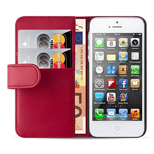 JAMMYLIZARD Lederhülle für iPhone SE und iPhone 5 / 5s | Ledertasche [ Wallet Tasche Series ] Leder Book Case Hülle Flip Cover Schutzhülle mit Kartenfach, Rot