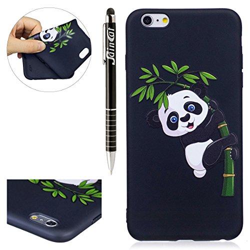 Custodia iPhone 6 Plus, iPhone 6S Plus Cover Silicone, SainCat Custodia in Morbida TPU Protettiva Cover per iPhone 6/6S Plus, 3D Silicone Case Ultra Slim Sottile Morbida Transparent TPU Gel Cover Case Bamboo Panda