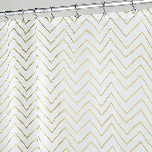 mDesign Duschvorhang Anti-Schimmel - gemusterter Dusch- & Badewannenvorhang - Badezimmer-Vorhang mit 12 verstärkten Ösen für eine einfache Aufhängung - gold/weiß