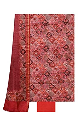 Moonga Tussar Suit Dupatta Rust Black colour