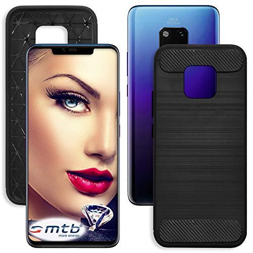mtb more energy® Hülle Carbon für Huawei Mate 20 Pro (LYA-L09, L29 / 6.39\'\') | Schwarz | flexibel | TPU Case Cover Tasche Schutzhülle