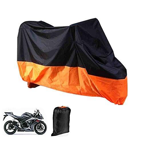 Motorrad Garage Abdeckplane Plane Faltgarage Wasserdicht Orange und Schwarz mit Tasche, XL 245x105x125cm [version:x8.8] by DELIAWINTERFEL