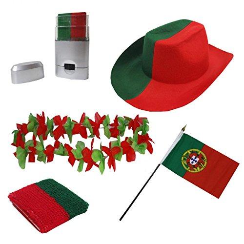 Sonia Originelli Fan-Paket-2 WM Länder Fußball Hut Kette Schminke Schweißband Flagge Farbe Portugal - Flagge Hut