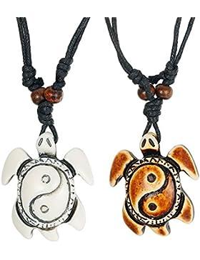 BESTEEL Schmuck 2Pcs Yin Yang Anhänger Halskette für Herren und Damen Seeschildkröte Halskette Verstellbar