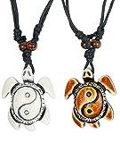 BE STEEL BESTEEL Schmuck 2Pcs Yin Yang Anhänger Halskette für Herren und Damen Seeschildkröte Halskette Verstellbar