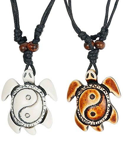 Besteel 2PCS Collar Tortuga para Hombre Mujer Niño Yin Yang Collar Colgante Cadena Bff Amigas Ajustable