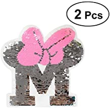 ULTNICE 2 unids Parches de Lentejuelas Bordadas Reversible Bowknot Carta de Hierro En Parche Apliques para
