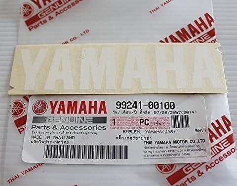TOUT NEUF 100% YAMAHA D'ORIGINE Autocollant Emblème Logo 100mm x 23mm BLANC Autoadhésif Moto / Jet Ski / ATV / Motoneige