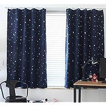 """bellabrunnen Par 39""""x 78"""" Los niños dormitorio cortinas estrellas patrón con Ready Made–Cortinas Blackout Luz, azul oscuro, 1m width x2m Drop"""