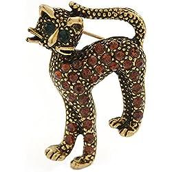 "Broche ""Gato"" adorable con imitación de diamante en metal de oro quemado"