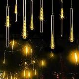 NuteDawn 50cm 10 Tubo 540 LED de Meteoros Lluvia Luces Impermeabilizan Cadena para Fiesta de Boda de Decoración del árbol de Navidad (50CM-540LEDs, Blanco cálido)