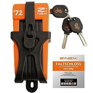 ZNEX bicicleta Candado/–Candado plegable Candado/cadena con alto nivel de seguridad/5mm Acero Endurecido/8eslabones/muy ligero y compacto–Solo 696g/Incluye bicicleta, naranja