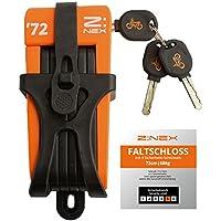 ZNEX 72' | Mini cerradura plegable / Cerradura de bicicleta / 72cm de largo / Barras de acero endurecido de 5 mm / 8 eslabones / muy ligera y compacta / incluyendo soporte para el marco de montaje y 3 llaves / sólo 696g