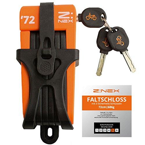 Z:NEX Fahrradschloss/Faltschloss / Gliederschloss mit hoher Sicherheitsstufe/Speziell gehärteter Stahl / 8 Glieder/sehr leicht & kompakt - nur 686g / inkl. Transporttasche/Halterung