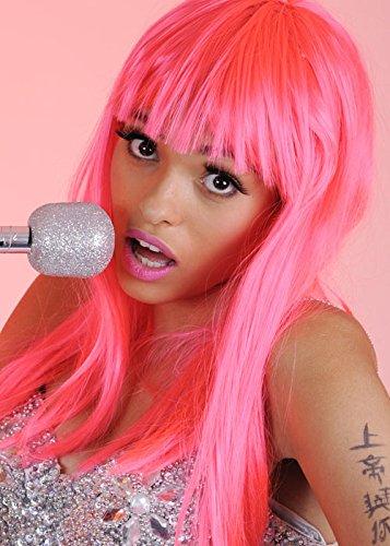 Nicki Minaj Stil lange Neon Pink Perücke