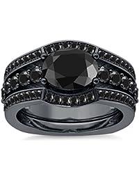 Silvernshine 2.35Ct Oval Cut Simulated Black Diamonds 14K Black Gold Plated Enhancer Wedding Set