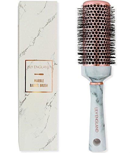 Lily England Haarbürste & Keramik Rundbürste zum Schnellen & Schonenden Föhnen & Glätten - Fönbürste & Rundhaarbürste für Kurze & Lange Haare, Marmor -