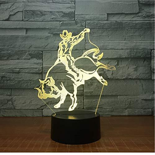 Lámpara De Ilusión Óptica 3D Luz Nocturna Taurino Forma De Lámpara De 7 Colores Cambio De Decoración Acrílico Habitación De Los Niños Regalo Para Cowboy Fan