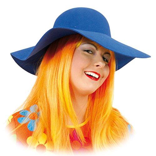 Amakando Hippie Hut Maxi Hippiehut blau Damen Sommerhut 70er Jahre Schlapphut Karnevalskostüme Accessoires 60er Jahre Mottoparty Mütze Flower Power Partyhut -