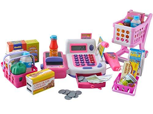 Iso Trade Registrierkasse XXL Set Kinder Spielgeld Produkte Scanner Korb Wagen Spielzeug 4512