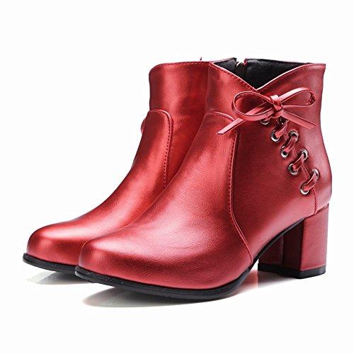 Mee Shoes Damen Reißverschluss chunky heels Glattleder Ankle Boots Rot