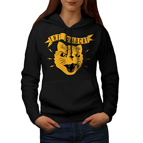 the-wild-cat-snarl-angry-kitten-women-new-black-l-hoodie-wellcoda