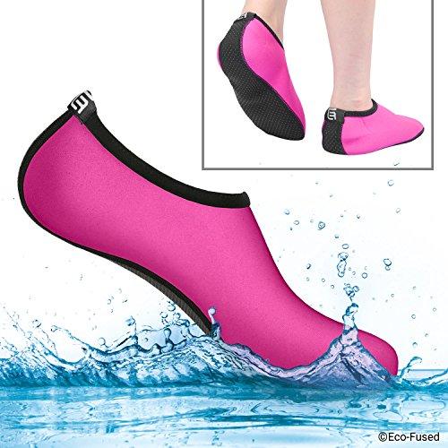 Calcetines de agua para mujeres - Extra Cómodos - Protege contra la arena, agua fría/caliente, UV, rocas/guijarros - Calzado fácil para nadar, voleibol de playa, snorkel, vela, surf, yoga, caminar