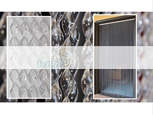 Tenda/moschiera pvc –modello 21 - asta in alluminio - made in italy - misure standard (95x200 / 100x220 / 120x230 / 130x240 / 150x250) - (150x250, trasparente glitter argento (8))