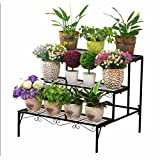 3 Tier Metal Plant Holder Flower Pot Soporte Rack Garden Patio Standing Staging Sembradora Stand Soporte Interior Standing Display Decoración Shelf Herb Bonsai Outdoor Iron Black