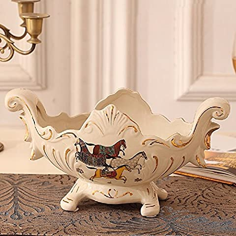 KHSKX European fruit plate, luxury high-grade ceramic fruit plate, creative