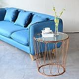 Tische Kreative Persönlichkeit Schmiedeeisen Couchtisch Einfache und moderne Runde gehärtetem Glas Sofa Beistelltisch Geometrische Mode Sofa Seite Telefontisch ( größe : 30.5*35.8CM )