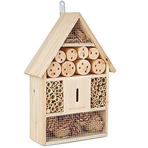 Andrew James Bee House And Insect House - The Perfect Home For Solitary Bees And Natural Pest Control Creatures Like Ladybirds and