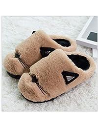 GAOHUI Slippers Los Hombres Invierno Caliente Antideslizante Zapatillas De Felpa Artificial Caricatura Costura Zapatos,Caqui,36 37
