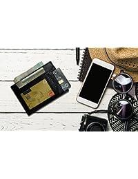 Paper Plane Design Leather Visiting Card Holder For Keeping Business Cards, Debit Cards, Credit Card - Black