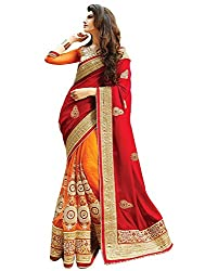 Vatsla Enterprise Women'S Georgette With Blouse Piece( Orngkldp, Orange And Red ,Free Size)