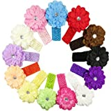 Kella Milla Flower Hair Clips with Soft Stretchy Crochet Baby Headbands
