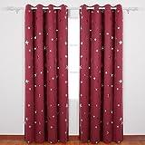 Deconovo Vorhang Verdunkelung Vorhang Sterne Verdunkelungsgardinen Ösen Weihnachtsvorhänge 175x140 cm Rot 2er set