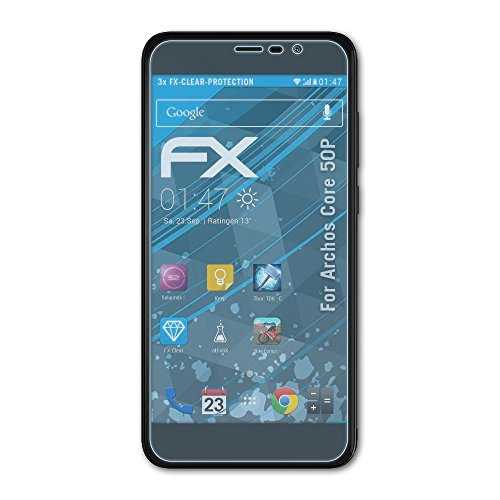 atFolix Schutzfolie kompatibel mit Archos Core 50P Folie, ultraklare FX Bildschirmschutzfolie (3X)
