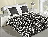 Tagesdecke Bettüberwurf Überwurf Milo zweiseitig Schwarz/Weiß 220 cm x 240 cm