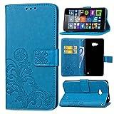 Schutzhülle Für Microsoft Lumia 640 Dual-SIM , pinlu® Handyhülle Hohe Qualität PU Ledertasche Brieftasche Mit Stand Function Innenschlitzen Design Glücklich Klee Muster Blau