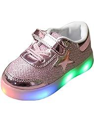 hibote Muchachos del niño de las muchachas de luz para arriba los zapatos rosado EU 23