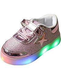 hibote Muchachos del niño de las muchachas de luz para arriba los zapatos rosado EU 29