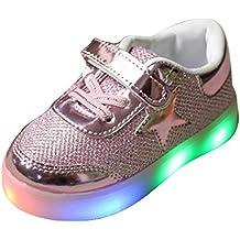 hibote Muchachos del niño de las muchachas de luz para arriba los zapatos rosado EU 22
