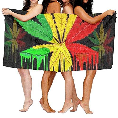 hat pillow Marijuana Leaf Rasta Colors Dripping Paint Bath Towel Soft Perfect Cotton Blankets Machine Washable Extra Large -