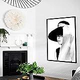 LiMengQi Arte Pintura al óleo Cartel Pendientes de Perlas Estampados de niña Arte de la Pared escandinava Imagen de la Sala de Estar (Sin Marco) A3 60x80CM