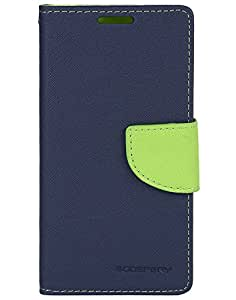 Friends Accessories Flip Cover for Samsung Galaxy J3 (Navy Blue & Green)