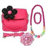 Kilofly, borsetta in peluche per bambini + molletta per capelli con grande rosa + collana + bracciale, rosso